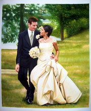 sample oil painting, Wedding portrait, sample portrait painting from photo - 55