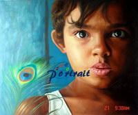 sample oil painting, child portrait, baby portrait, sample portrait painting from photo - 49