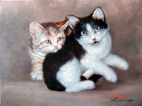 sample oil painting, cat portrait, Pet portrait, sample portrait painting from photo - 60